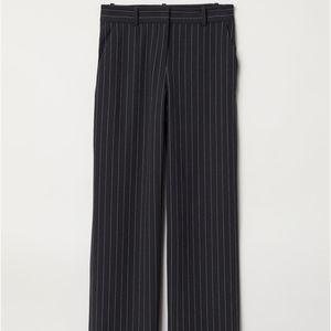 H&M Navy Blue Chalkstripe Wide leg Suit Pants
